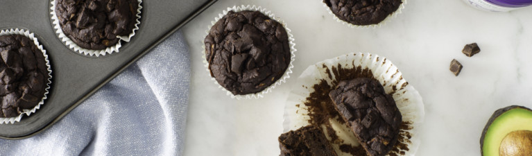 Double Chocolate Avocado Muffins